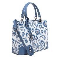 Geanta piele bleumarin prafuit imprimeu floral GF3011