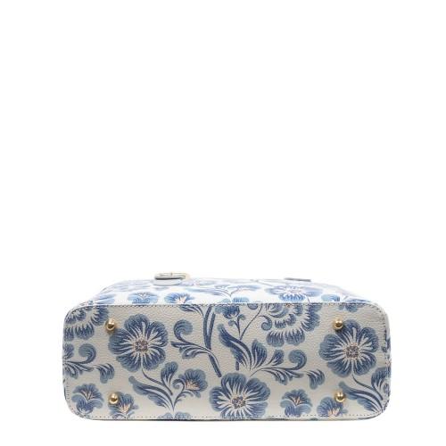 Geanta piele gri deschis imprimeu floral GF3018