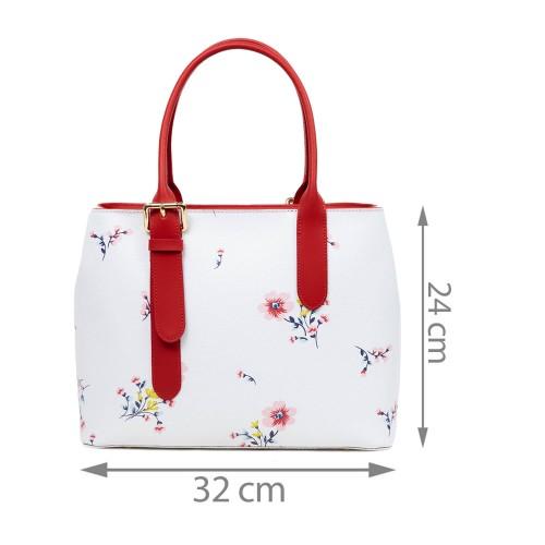 Geanta piele rosie/alb/imprimeu floral GF3019