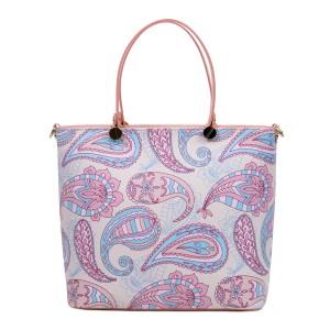 Geanta piele roz /imprimeu multicolor GF3020