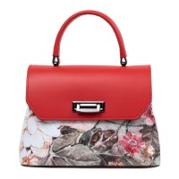 Geanta piele rosie imprimeu floral multicolor GF3094