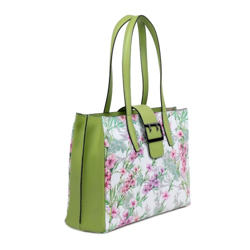 Geanta dama piele verde fistic imprimeu flori GF3107