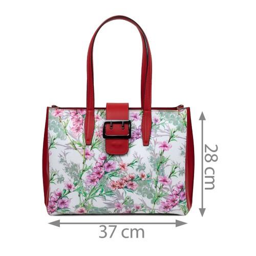 Geanta dama piele rosu imprimeu flori GF3108