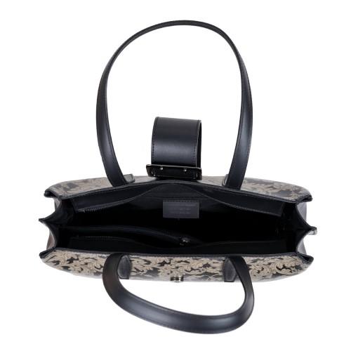 Geanta dama piele neagra cu imprimeu GF3109