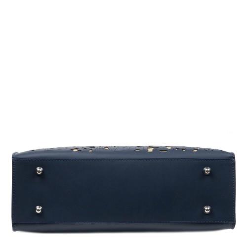 Geanta dama piele bleumarin cu imprimeu perforat GF3112
