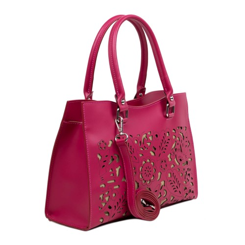 Geanta dama piele roz cu imprimeu perforat GF3114
