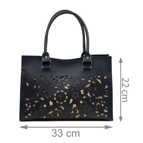 Geanta dama piele neagra cu imprimeu perforat GF3115