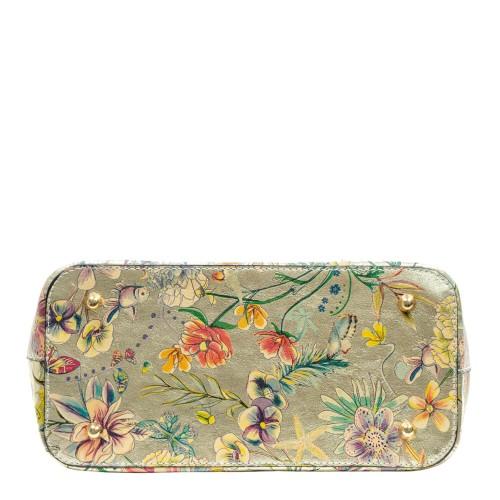 Geanta piele aurie cu imprimeu floral GF3148