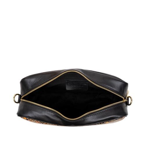 Geanta dama piele neagra cu imprimeu paisley GF3158