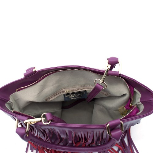 Geanta piele violet cu franjuri GF324