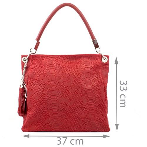 Geanta piele rosie cu imprimeu GF371