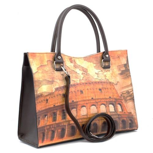 Geanta piele maro Colosseum GF380