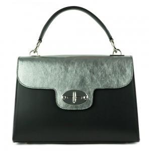 Geanta piele negru/ argintiu GF389