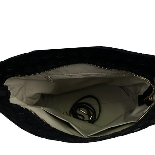 Geanta piele neagra cu imprimeu GF390