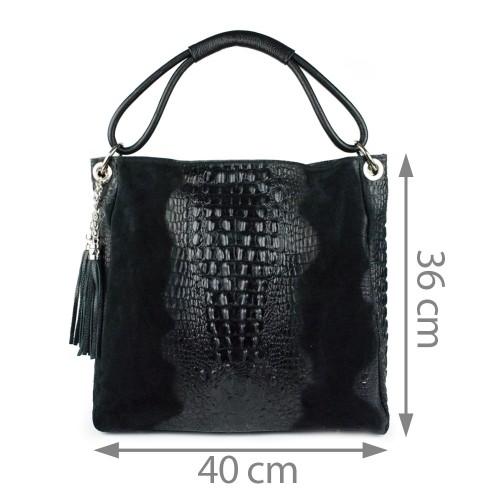 Geanta piele neagra cu imprimeu GF392