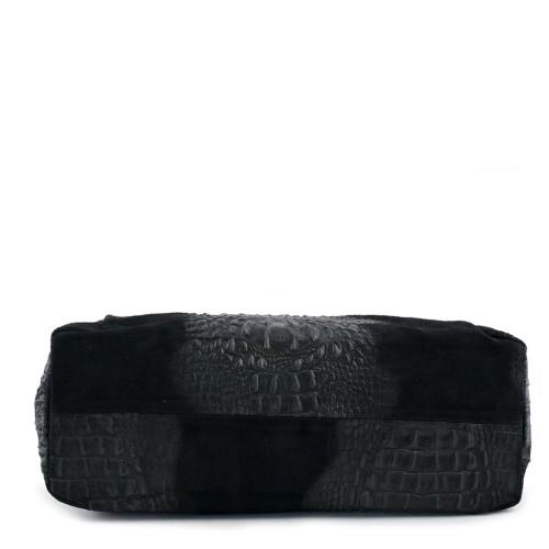 Geanta piele neagra cu imprimeu GF392 Genti Femei