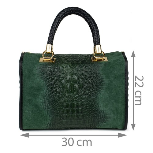 Geanta piele verde GF400