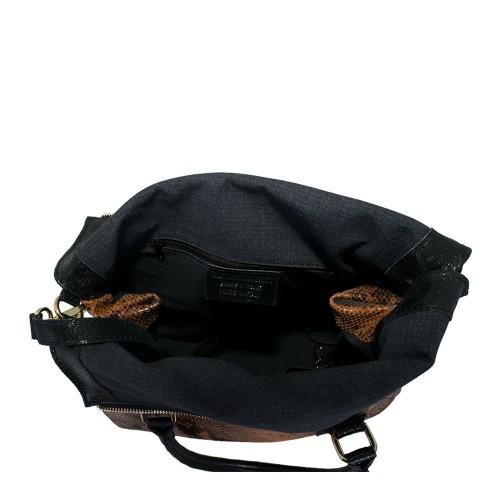Geanta piele maro/ negru cu imprimeu GF407