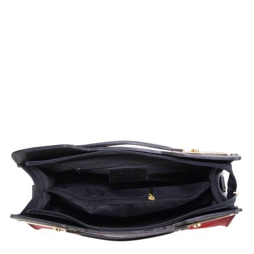 Geanta piele negru cu marsala GF408