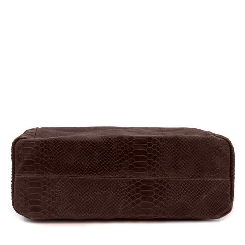 Geanta piele maro inchis cu imprimeu GF409