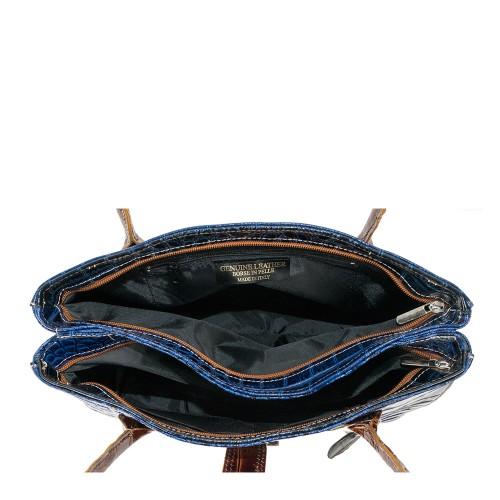Geanta piele bleumarin cu maro GF429 Genti Femei