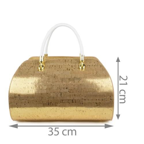 Geanta piele auriu/ alb GF436