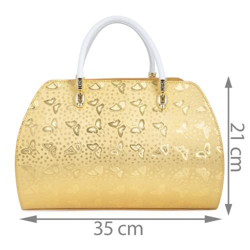 Geanta piele auriu/ alb GF436 Genti Dama