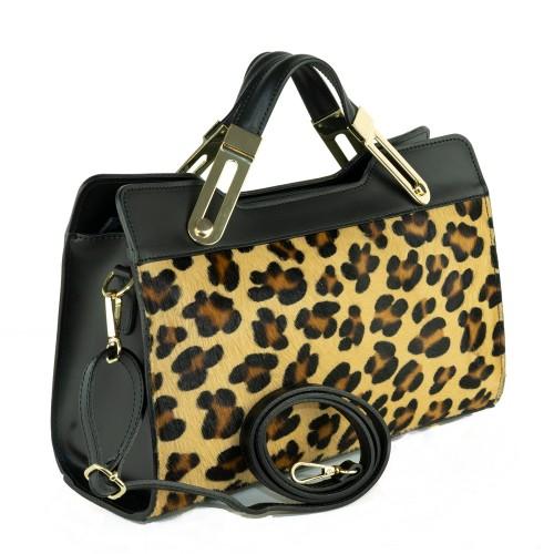 Geanta piele neagra cu imprimeu leopard GF464