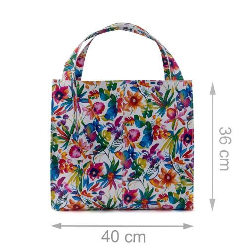 Geanta piele alba imprimeu floral GF485 Genti Femei