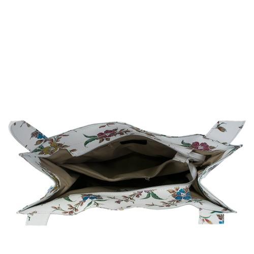 Geanta piele alba imprimeu floral GF486 Genti Femei