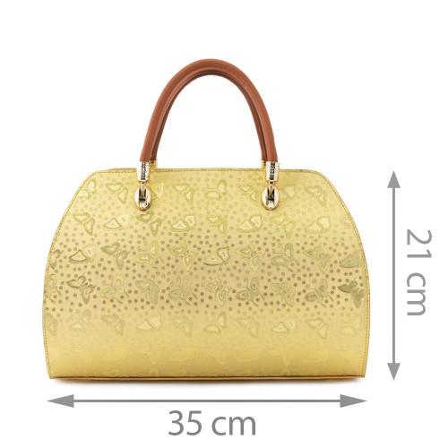 Geanta piele auriu/maro GF507 Genti