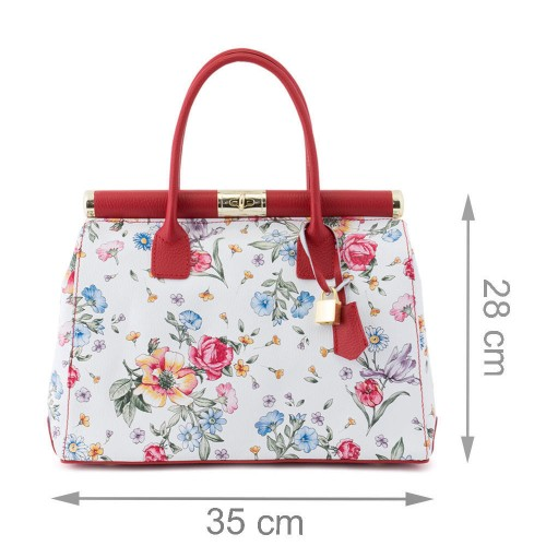 Geanta piele alb/ rosu cu imprimeu floral GF508