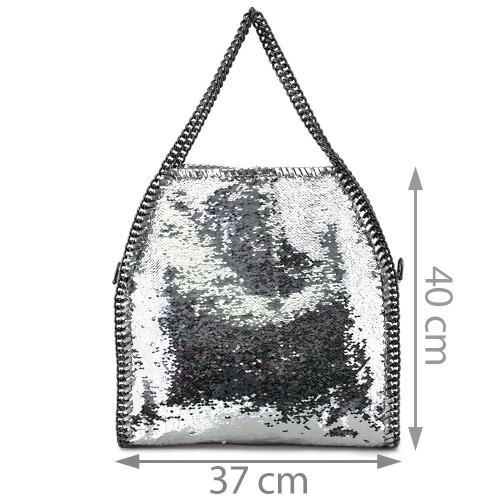 Geanta piele argintie GF537