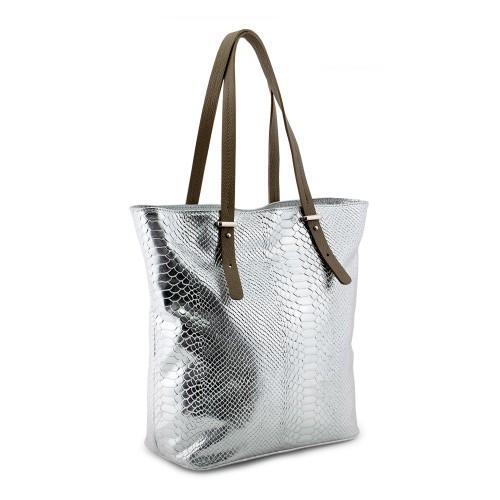 Geanta piele argintie cu imprimeu GF546 Genti Femei