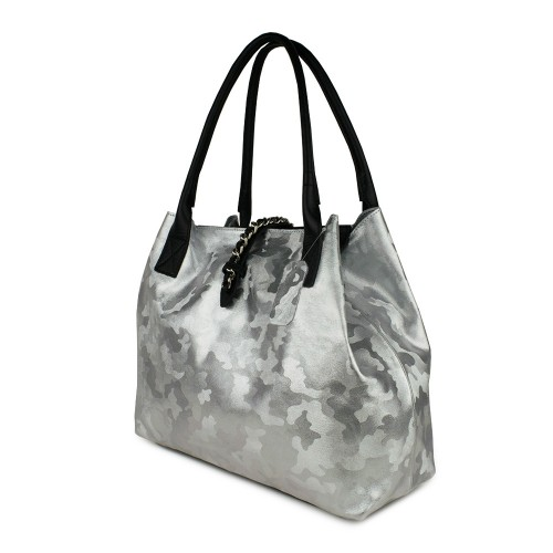 Geanta piele silver cu imprimeu GF559