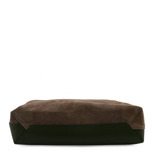Geanta piele naturala maro/ verde GF601