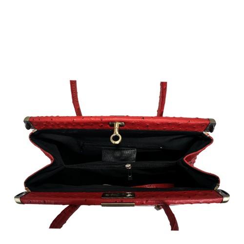 Geanta piele rosie cu imprimeu GF623