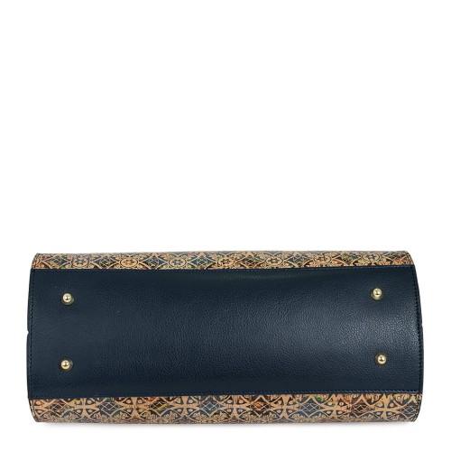 Geanta piele naturala cu imprimeu paisley/ bleumarin GF627 Genti Dama