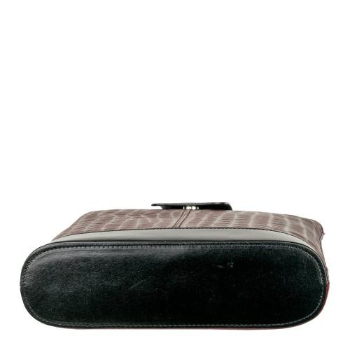 Geanta piele negru/ grena cu imprimeu GF686