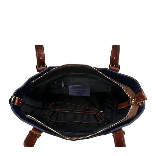 Geanta piele bleumarin cu maro GF708