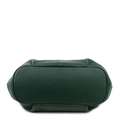 Geanta piele verde inchis cu ciucuri GF721 Genti Dama
