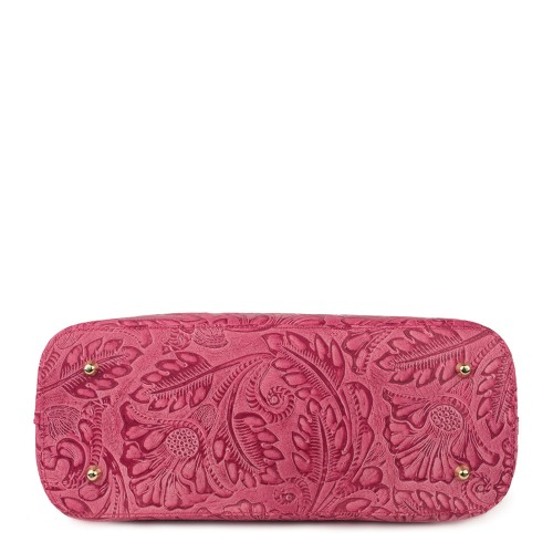 Geanta piele rosie cu imprimeu floral GF757 Genti Dama