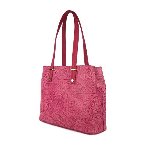 Geanta piele rosie cu imprimeu floral GF757