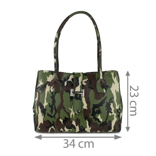 Geanta piele imprimeu camuflaj/ army GF767