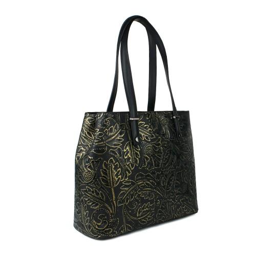 Geanta piele neagra cu imprimeu floral GF771 Genti Dama