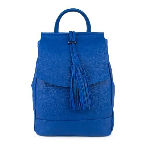 Rucsac piele albastru cu ciucuri GF780-  Rucsac dama
