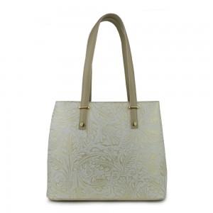 Geanta piele alb- unt cu imprimeu floral GF796- Genti Dama