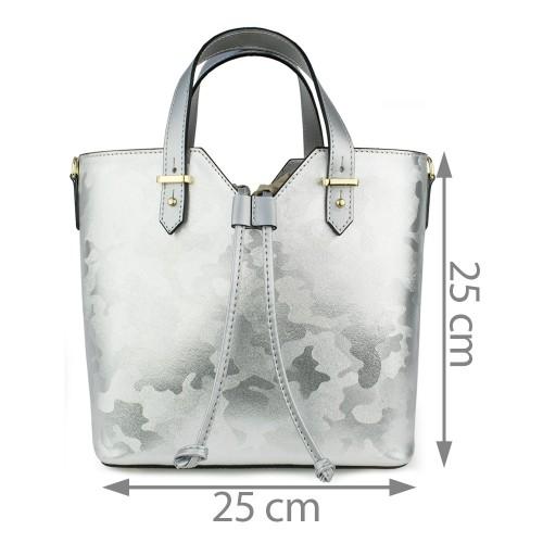 Geanta piele silver cu imprimeu GF832
