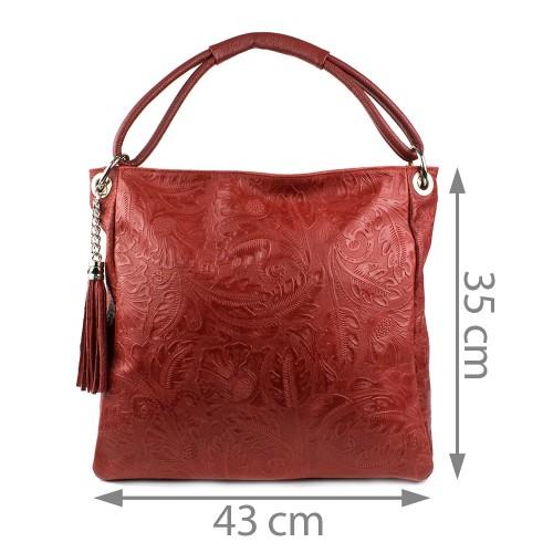Geanta piele imprimeu rosu inchis GF867