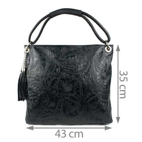 Geanta piele neagra cu imprimeu GF868  Genti Femei